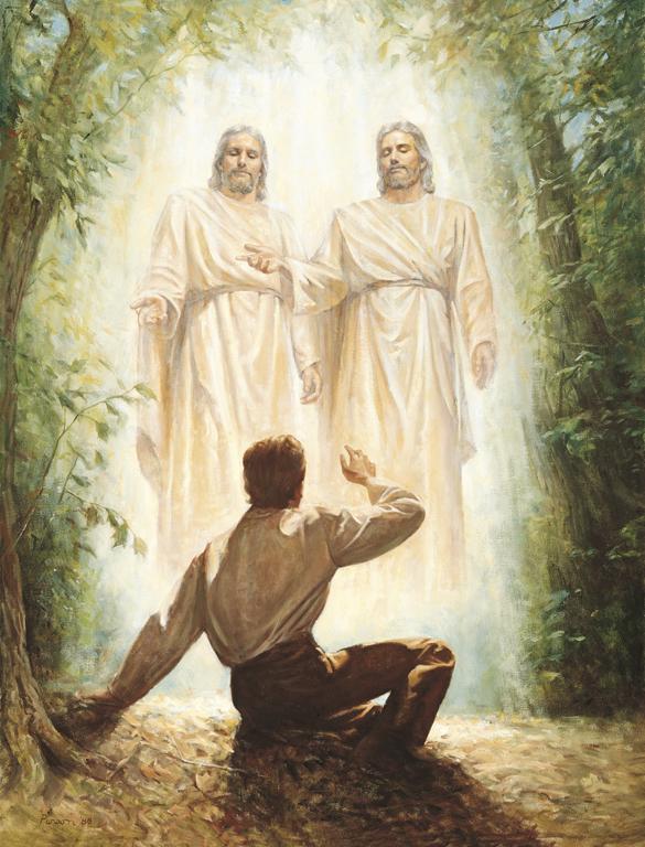 天のお父様とイエス・キリストにまみえるジョセフ・スミス