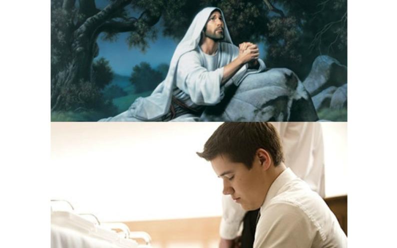ゲッセマネで祈るキリストの絵と、聖餐の祈りを捧げる神権者の写真