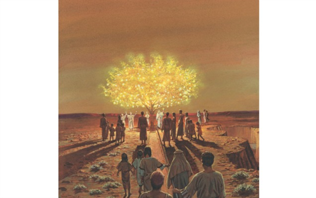 命の木へ続く棒を握り、歩く人々の絵