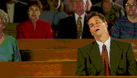 I go to bed at church.