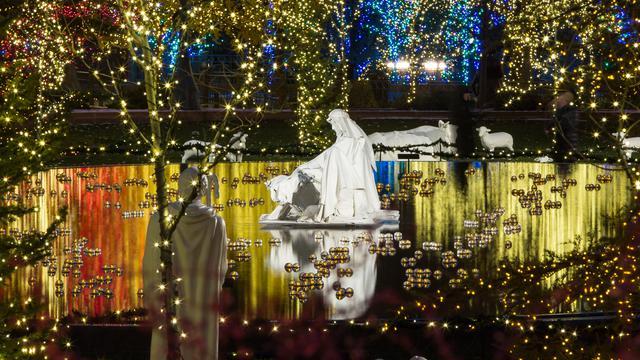 池に浮かぶヨセフ、マリアとキリスト