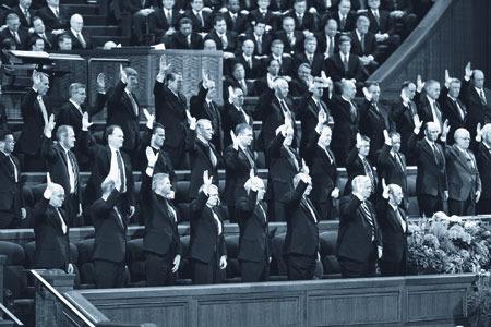 モルモン教の総大会での支持の表明