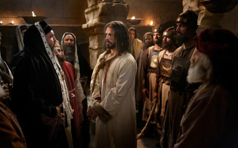 イエスキリストが人々に囲まれ裁かれている様子