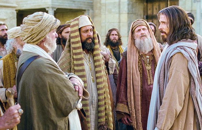 向き合うパリサイ人とイエス