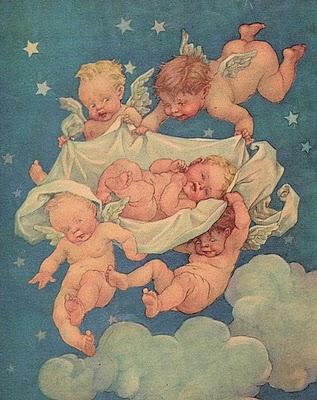 赤ちゃん天使が赤ちゃんを運ぶ