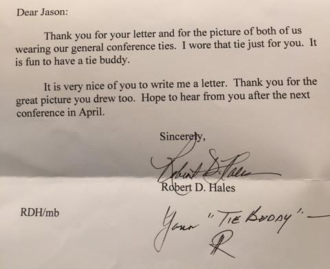 総大会でのネクタイ友達に感謝するヘイルズ長老の手紙