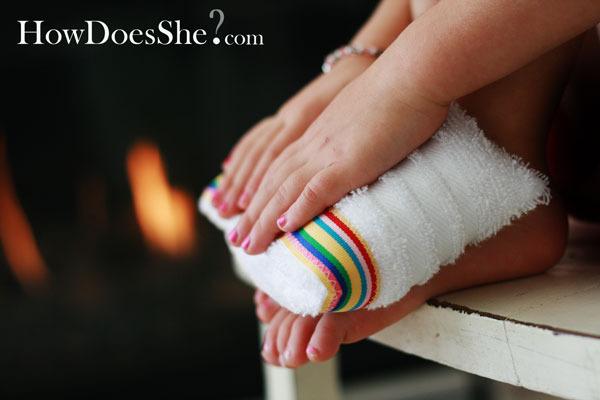 手足を温めるタオル