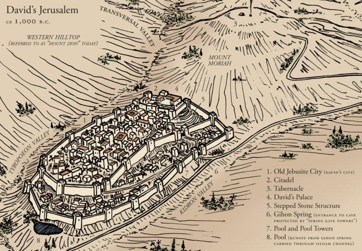 ダビデ王の時代のエルサレムの地図