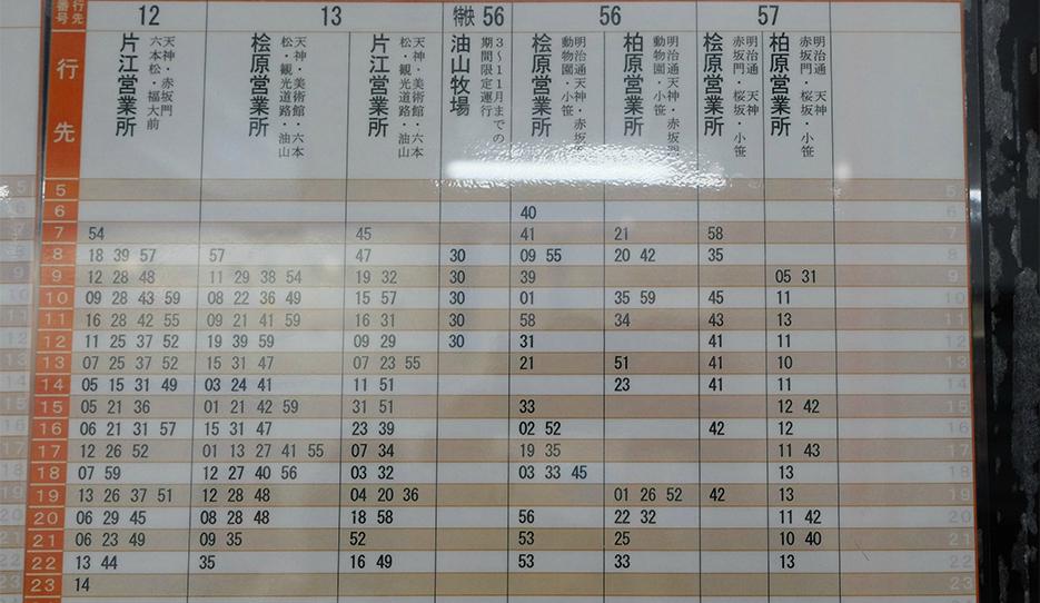 博多駅発のバス土曜日時刻表