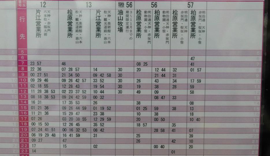 博多駅発のバス日曜祝日時刻表