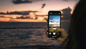 スマホで夕日を撮る