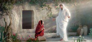復活されたイエスが墓の前に現れる