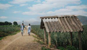 砂利道を手を繋いで歩く男女