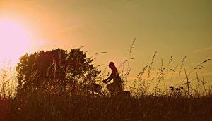 夕暮れ時に自転車に乗って草原を走る人