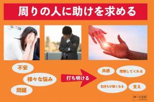 悩み苦しみを抱え込まず周りの人に助けを求めて癒される図