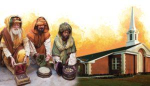 教会堂と重なる3人の賢者のイラスト
